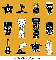 vettore, polinesiano, icone