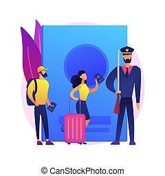vettore, politica, illustration., concetto, astratto, migrazione