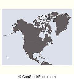 vettore, politico, mappa, nord america