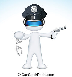 vettore, polizia, 3d, uomo