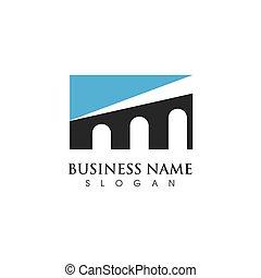 vettore, ponte, sagoma, icona, logotipo