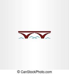 vettore, ponte, segno, fiume, onda