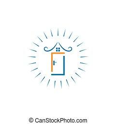 vettore, porta, icona, illustrazione, disegno