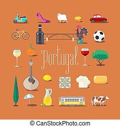 vettore, portoghese, limiti, set, icone