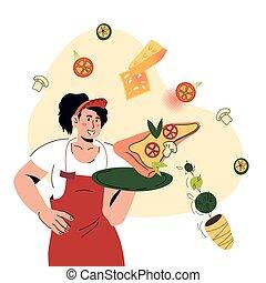 vettore, presa a terra, cameriera, pizza, pezzo, illustrazione, isolated., cartone animato, vassoio