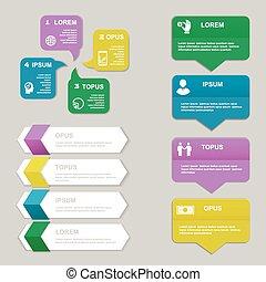 vettore, presentazione, template., numerato, grafico, linee, bandiere, disinserimento, sito web, orizzontale, infographics, disegno, o, grafico