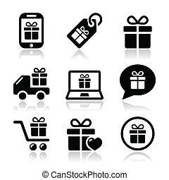 vettore, presente, set, shopping, icone