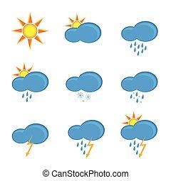 vettore, previsione, tempo, illustrazione, icone