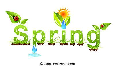 vettore, primavera, concetto, parola