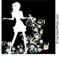 vettore, primavera, illustrazione, fondo, ragazza nera, fiori, curlicue