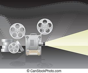 vettore, proiettore, illustrazione, cinema