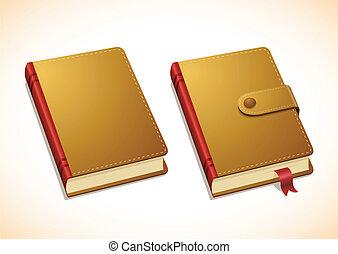 vettore, quaderno, marrone