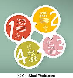 vettore, quattro, infographic, passi, carta, sagoma, cerchio