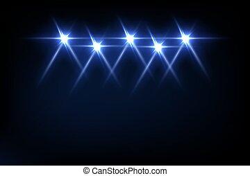 vettore, raggi luce, astratto, festa, effetto, luminoso, nero, palcoscenico, proiettori, fondo., intrattenimento, riflettore, festival, o, blu, illustration., discoteca, evento