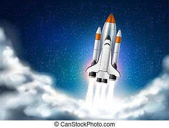 vettore, realistico, decollo, navetta, astronave, 3d