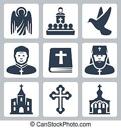 vettore, religione, set, cristiano, icone