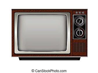 vettore, retro, set, illustrazione, tv