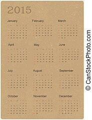 vettore, riciclato, carta, 2015, calendario, struttura