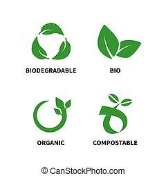 vettore, ridurre, biodegradabile, compostable, riciclare, riutilizzare, illustrazione, concetto