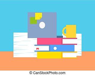 vettore, roba, illustrazione, ufficio, collezione