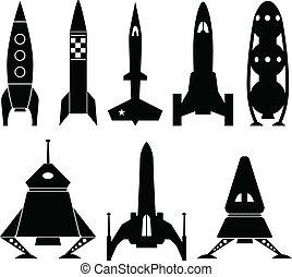 vettore, rocketship, icone