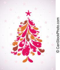 vettore, rosa, astratto, albero., natale