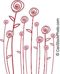 vettore, rose rosse