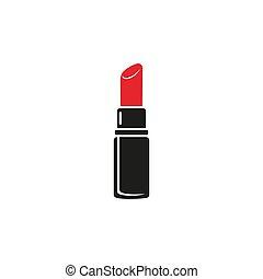 vettore, rossetto, segno, isolato, logotipo, icona, cartone animato, simbolo, o