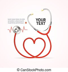 vettore, rosso, stethoscope.