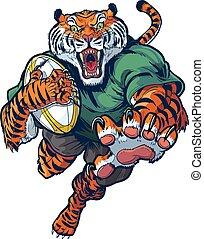 vettore, rugby, cartone animato, tiger, mascotte