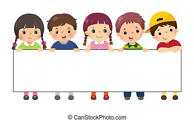 vettore, sagoma, illustrazione, vuoto, bambini, cartone animato, standing, banner., segno, dietro, advertising.