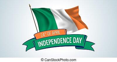 vettore, sagoma, indipendenza, scheda, bandiera, giorno, illustrazione, irlanda, testo, augurio