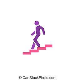 vettore, scale, uomo, icona