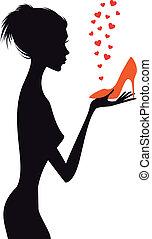vettore, scarpa, donna, moda, rosso