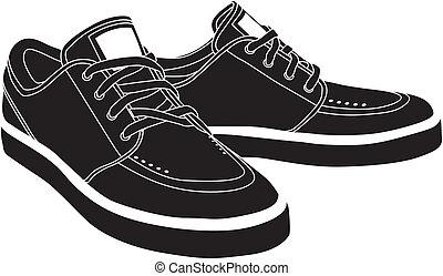 vettore, scarpe, sport