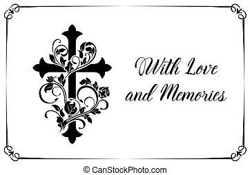 vettore, scheda, croce, floreale, ornamento, funerale