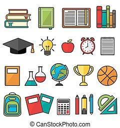 vettore, scuola, set, simboli, stationery., provviste, educazione