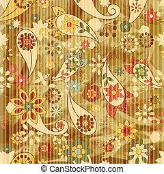 vettore, seamless, fondo, floreale, carta da parati, strisce