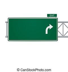vettore, segno, 3d, autostrada, vuoto