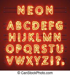 vettore, segno., alfabeto, text., lampada, illustrazione, neon, font
