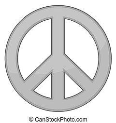 vettore, segno, pace, /, argento