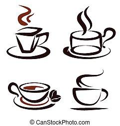 vettore, serie caffè, campanelle, icone