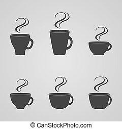 vettore, serie caffè, campanelle, illustrazione