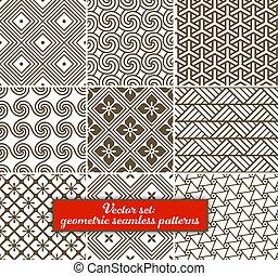 vettore, set:, 9, geometrico, patterns., seamless