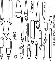 vettore, set, accessori, scrittura