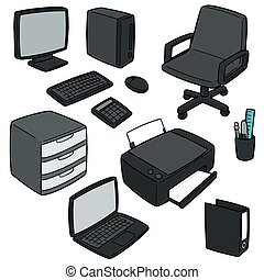 vettore, set, accessori, ufficio