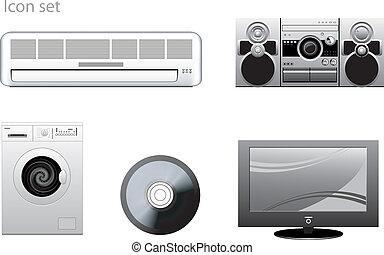 vettore, set, apparecchio, icone