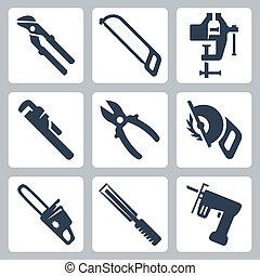vettore, set, attrezzi, isolato, icone
