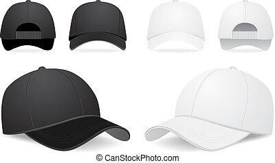 vettore, set, berretto, baseball