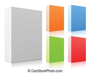 vettore, set, boxes., colorito